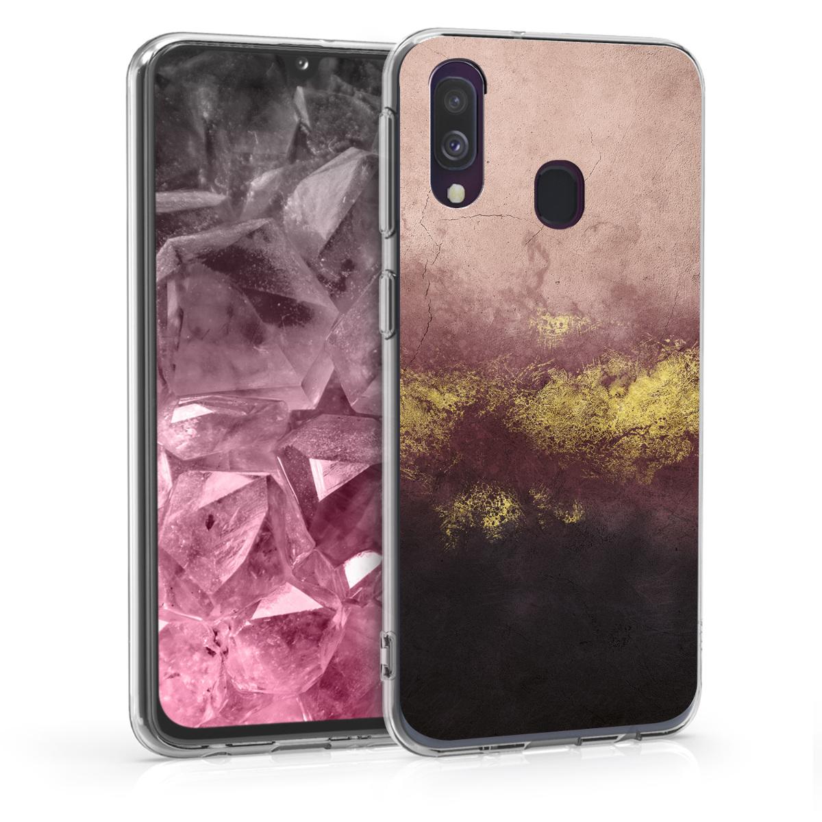 Kvalitní silikonové TPU pouzdro pro Samsung A40 - metalické Granite Gold / Dusty růžové / černé