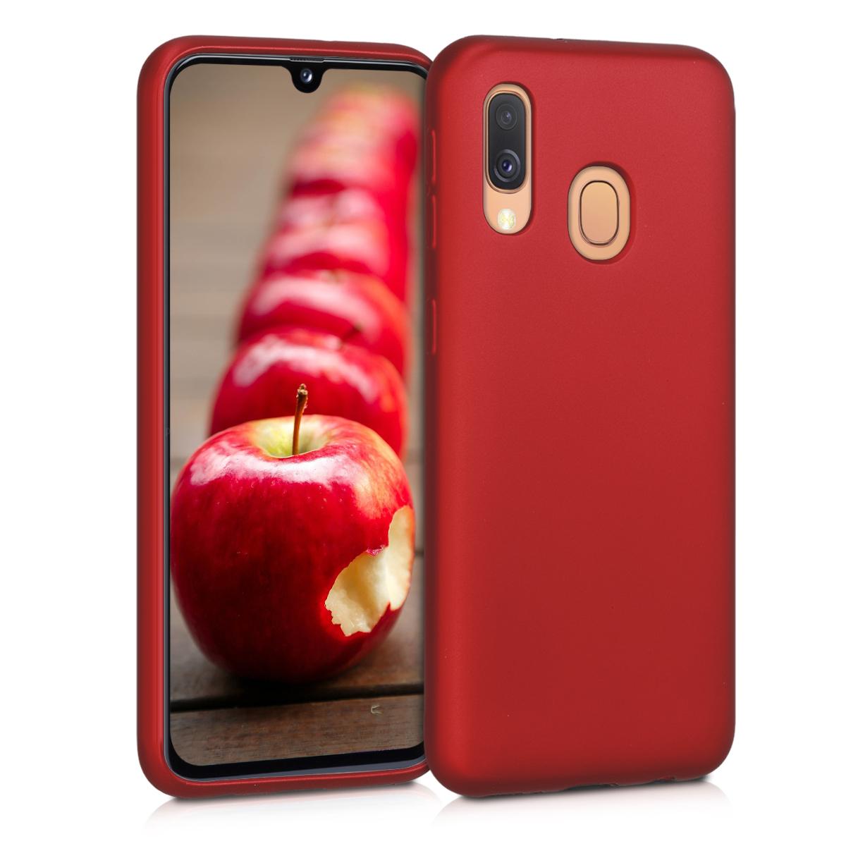 Kvalitní silikonové TPU pouzdro pro Samsung A40 - metalické tmavě červená