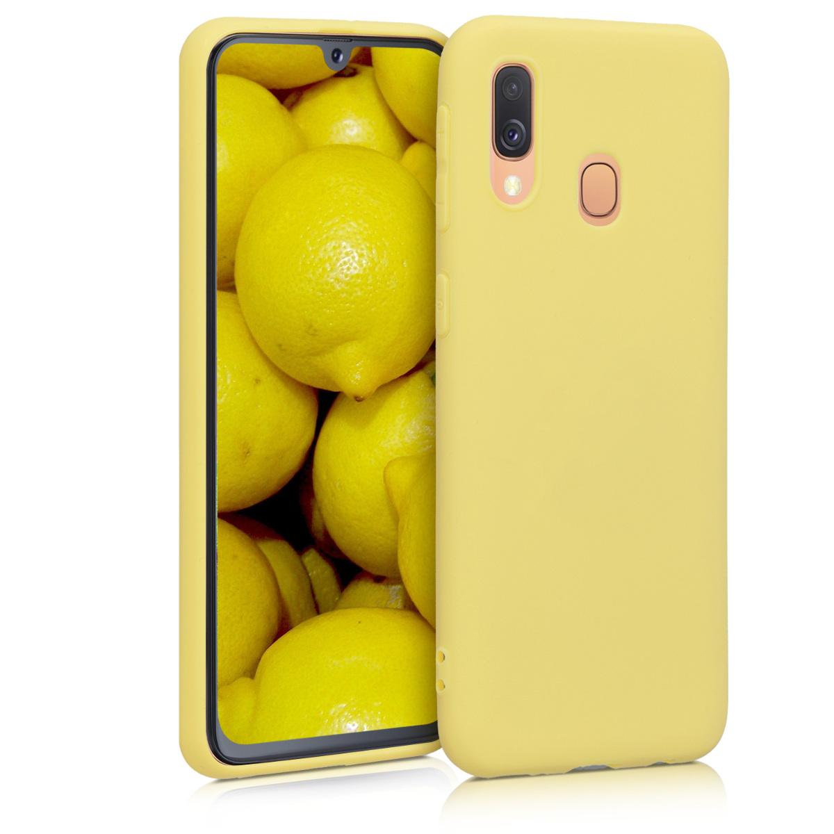 Kvalitní silikonové TPU pouzdro pro Samsung A40 - žluté matné