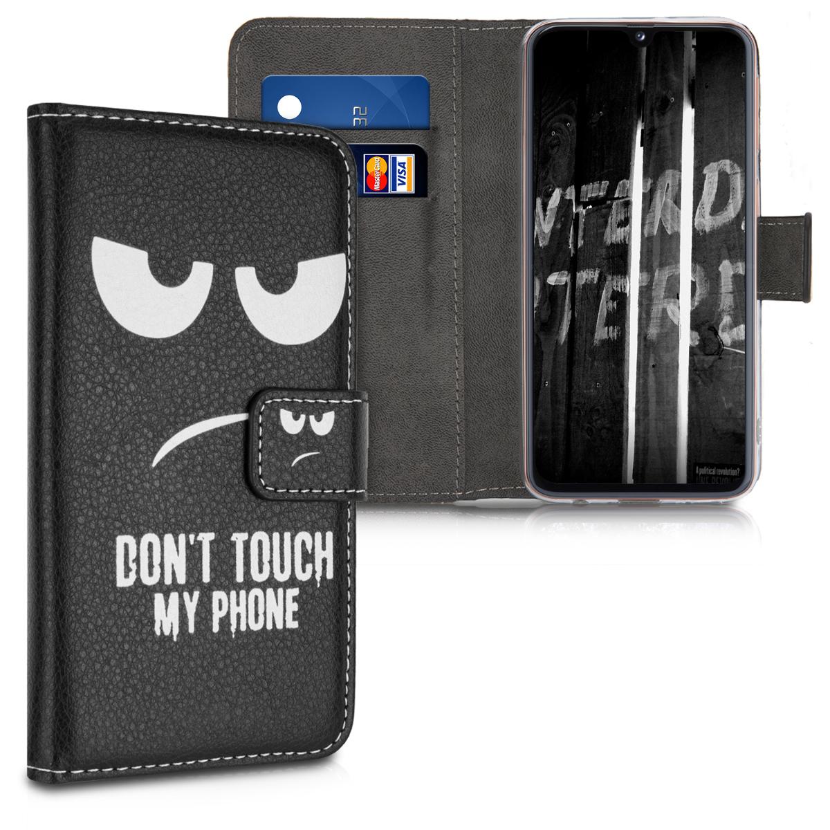 Kožené pouzdro pro Samsung A40 - Nedotýkejte My Phone bílé / černé