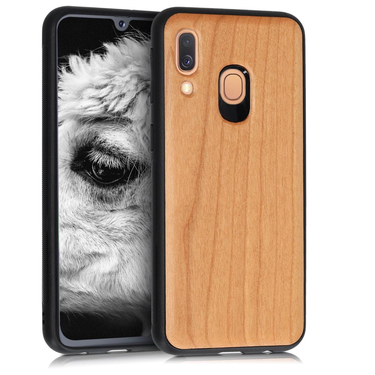 Dřevěné pouzdro pro Samsung A40 - světle  hnědá