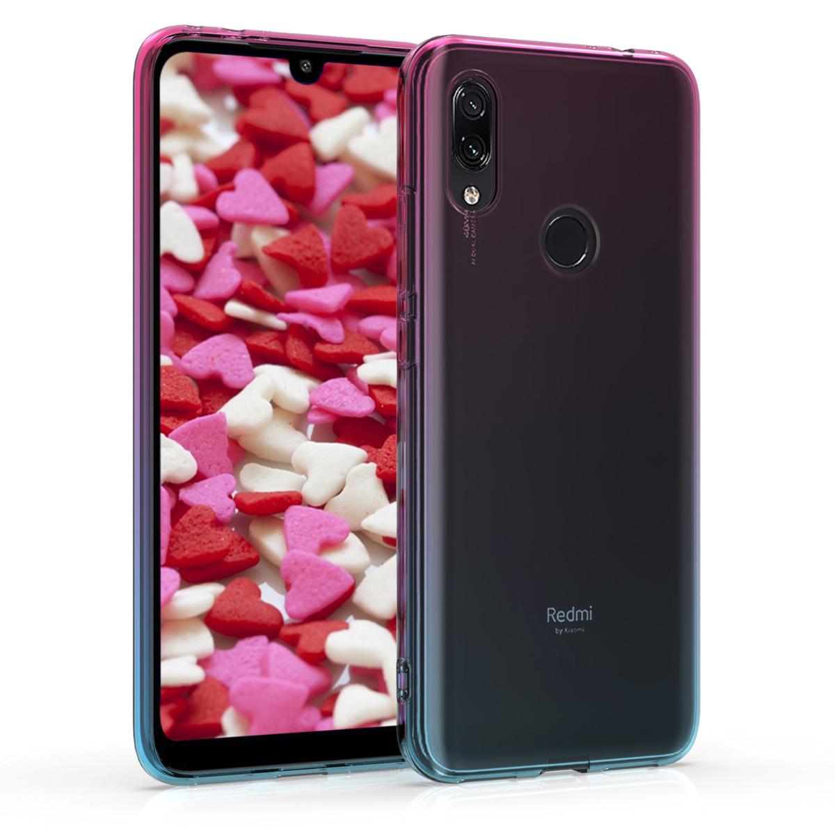 Kvalitní silikonové TPU pouzdro | obal pro Xiaomi Redmi 7 - Bicolor tmavě růžová / modrý / průhledná
