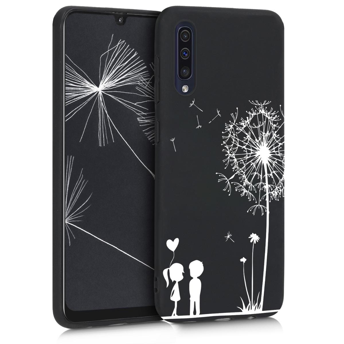 Kvalitní silikonové TPU pouzdro pro Samsung A50 - Pampeliška Láska bílá / černé