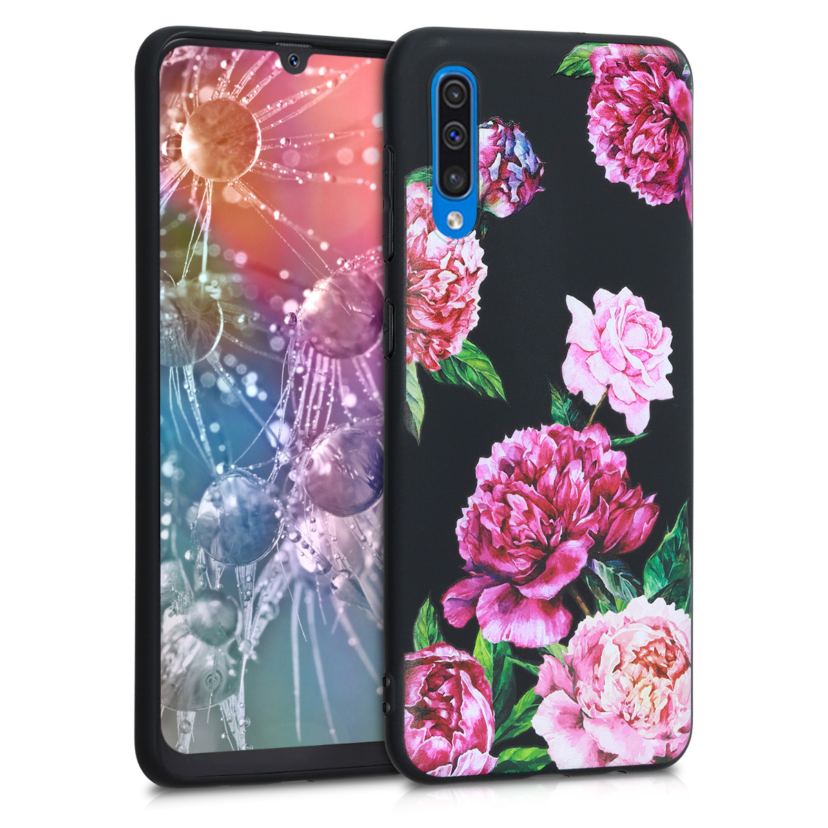 Kvalitní silikonové TPU pouzdro pro Samsung A50 - květiny Mix fialové / světle růžové / černé