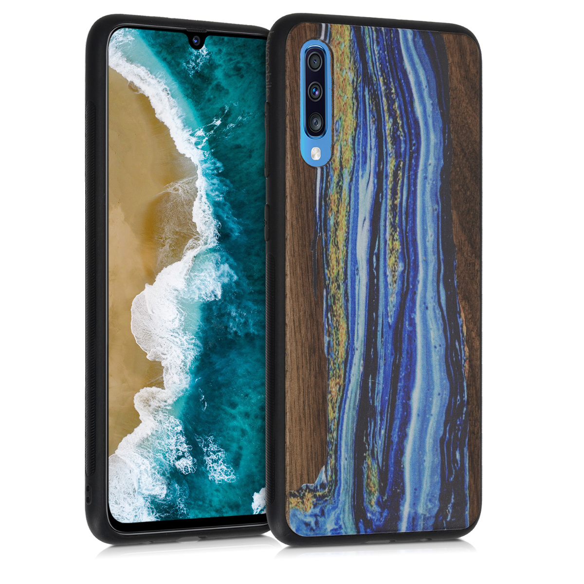 Dřevěné pouzdro pro Samsung A70 - Akvarel Waves modré / Hnědá