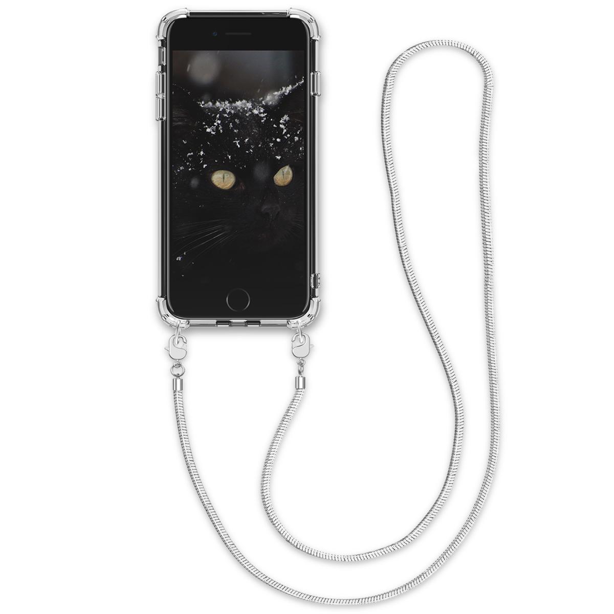 Kvalitní silikonové TPU pouzdro pro Apple iPhone 7 / 8 / SE  - Transparent | Silver