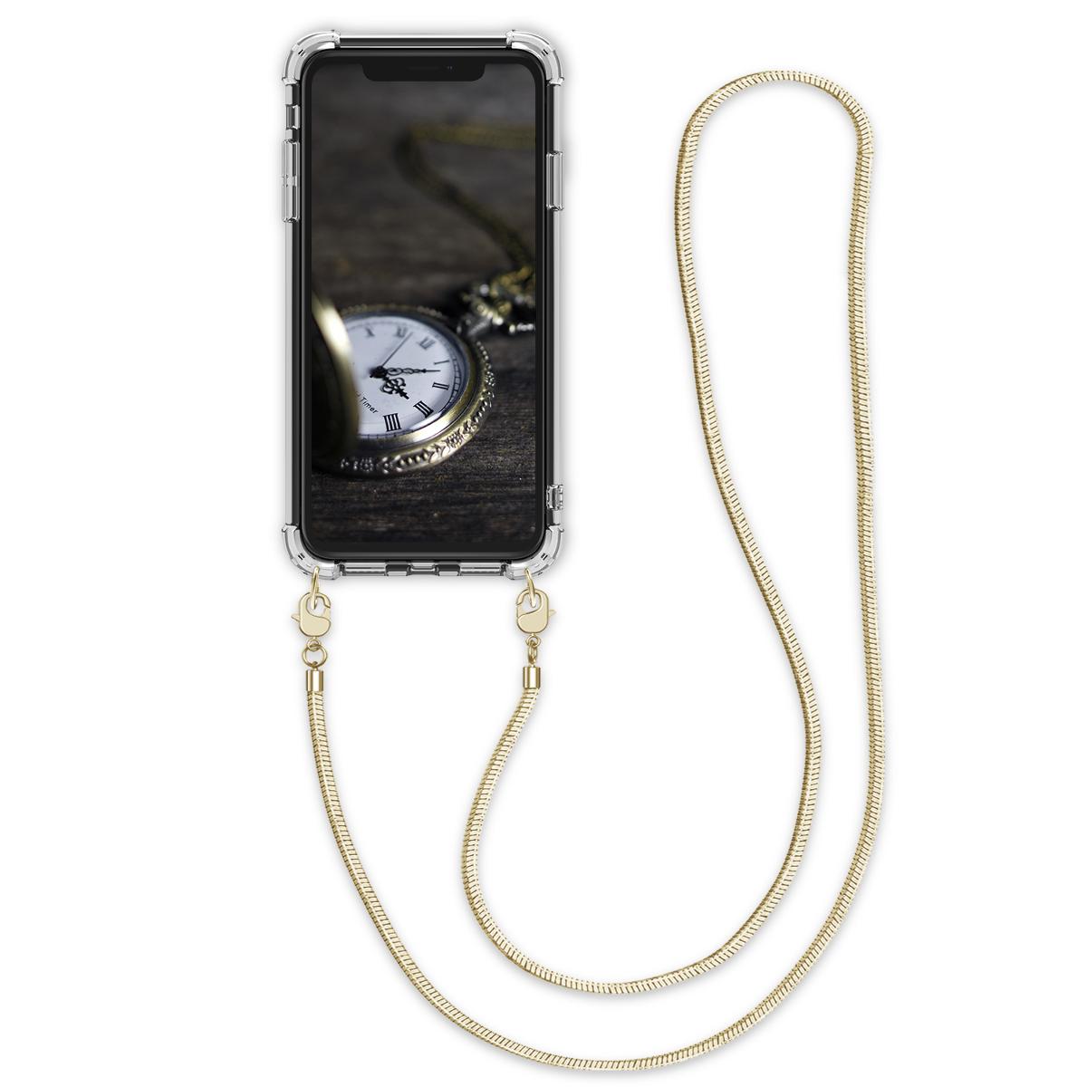 Kvalitní silikonové TPU pouzdro pro Apple iPhone X - Transparent | Gold
