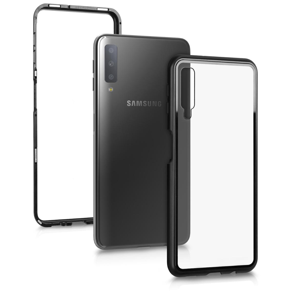 Skleněné pouzdro pro Samsung A7 (2018) - černé / transparentní
