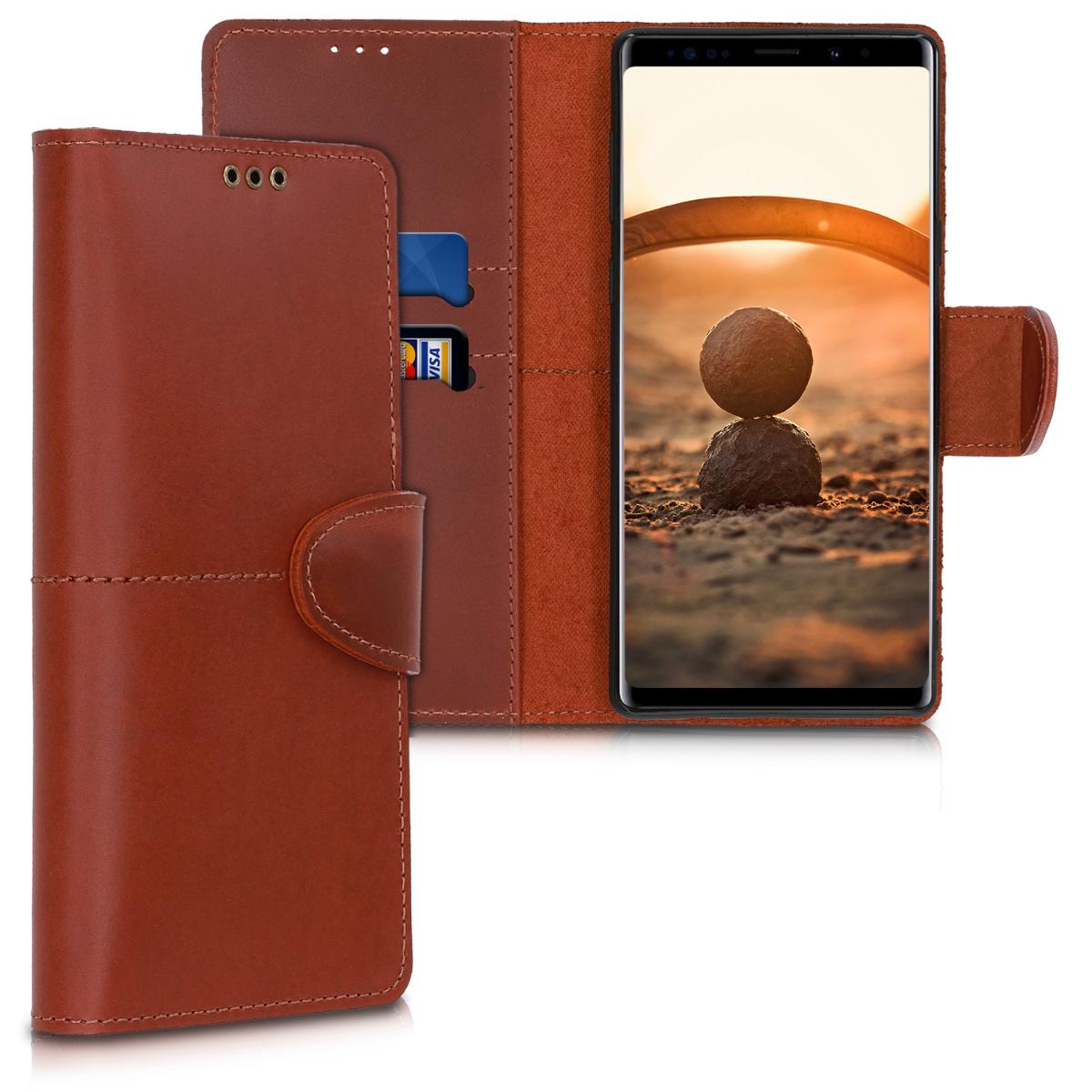 Kožené pouzdro pro Samsung Note 9 - tmavě hnědá