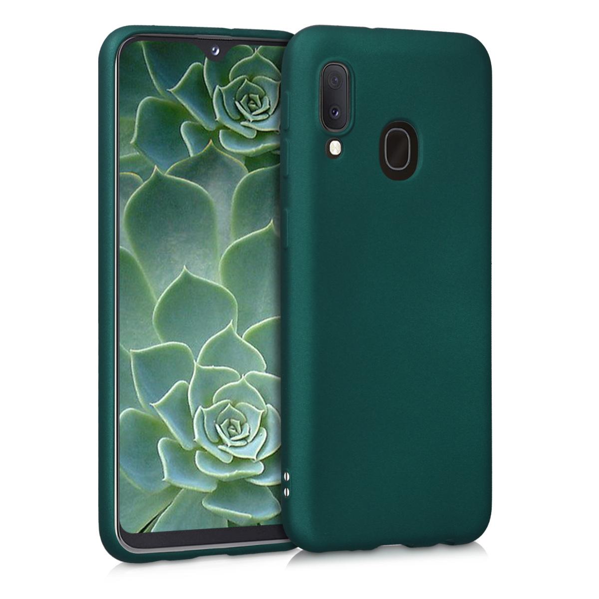 Kvalitní silikonové TPU pouzdro pro Samsung A20e - Tmavé metalické zelené