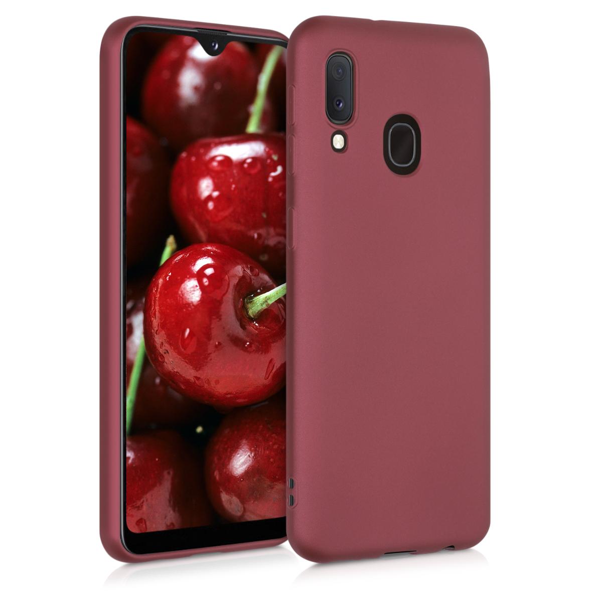 Kvalitní silikonové TPU pouzdro pro Samsung A20e - metalické Ruby červené