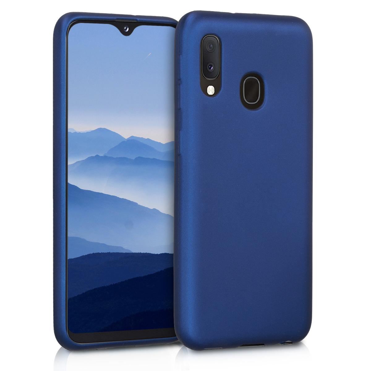 Kvalitní silikonové TPU pouzdro pro Samsung A20e - modré metalické