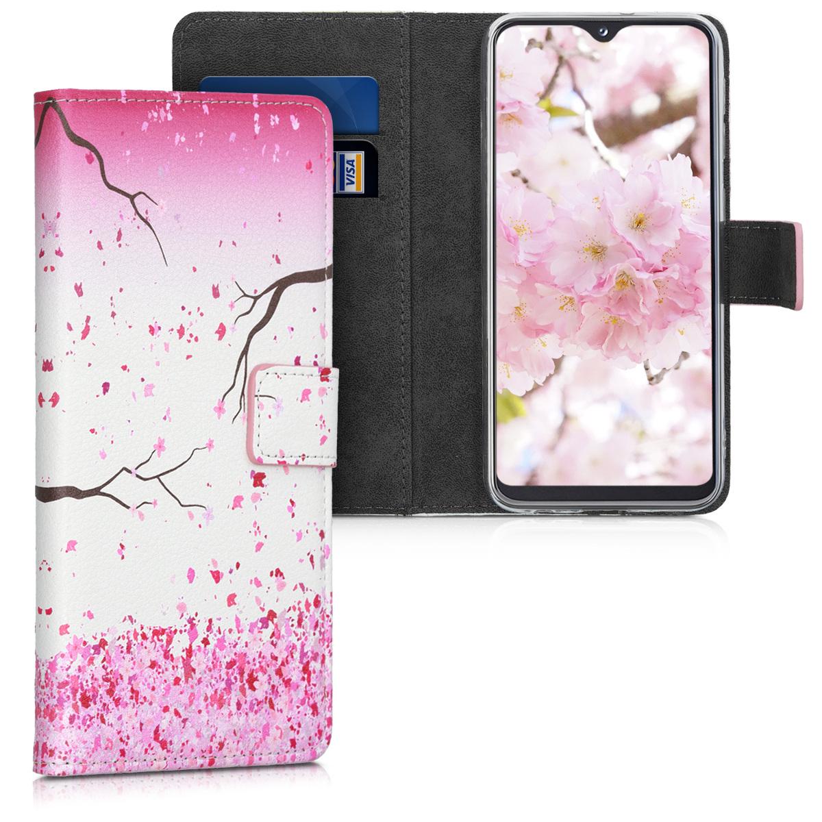 Kožené pouzdro pro Samsung A20e - Cherry Blossoms růžové / tmavě hnědá / bílá