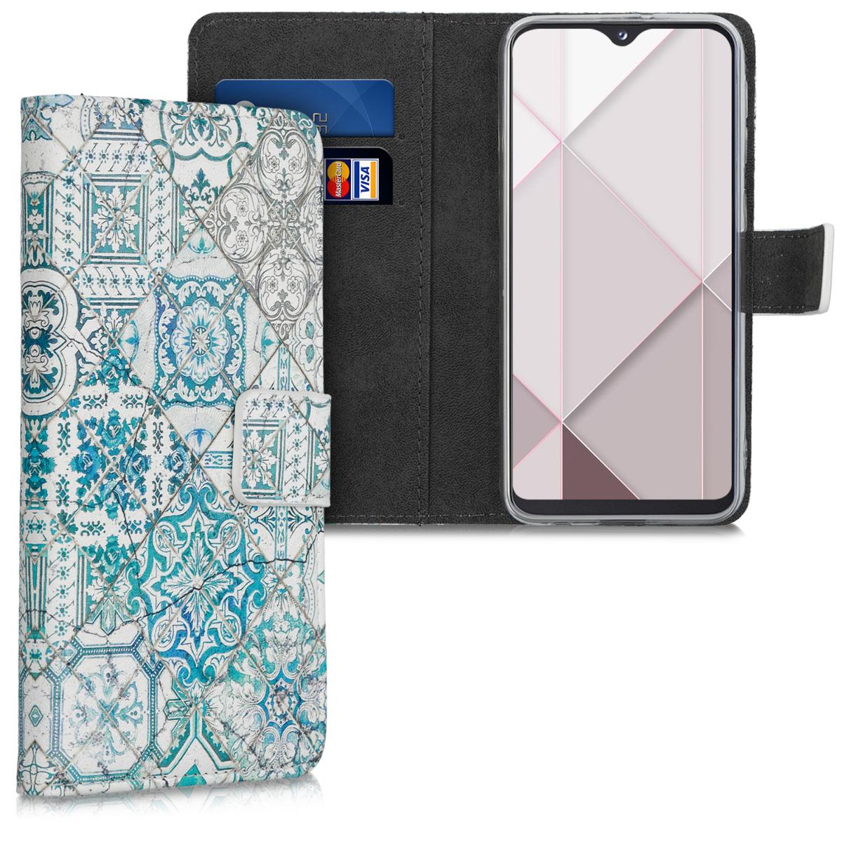 Kožené pouzdro pro Samsung A20e - Moroccan Vibes monochromaticky modré / šedé / bílá