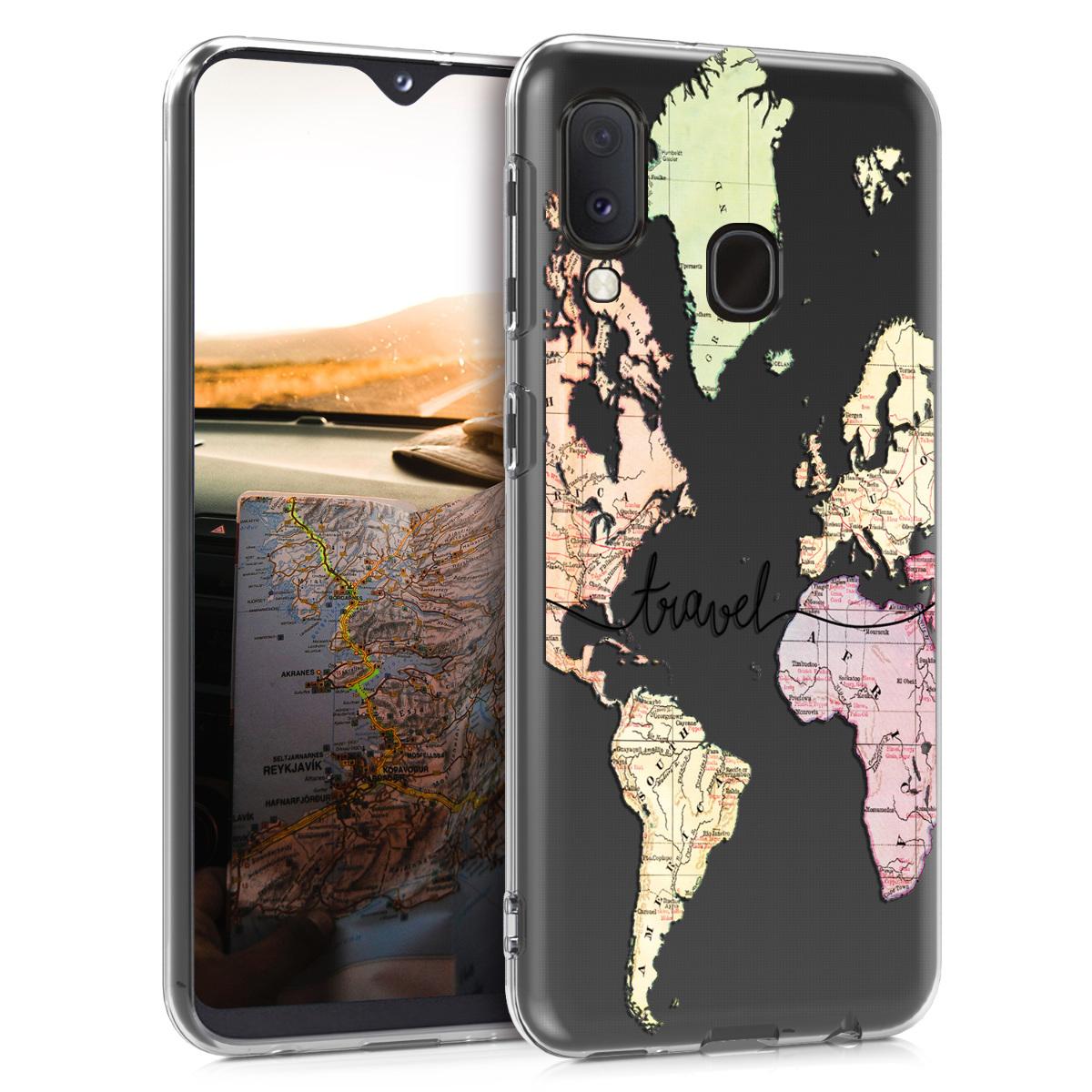 Kvalitní silikonové TPU pouzdro pro Samsung A20e - Travel černé / Multicolor / transparentní