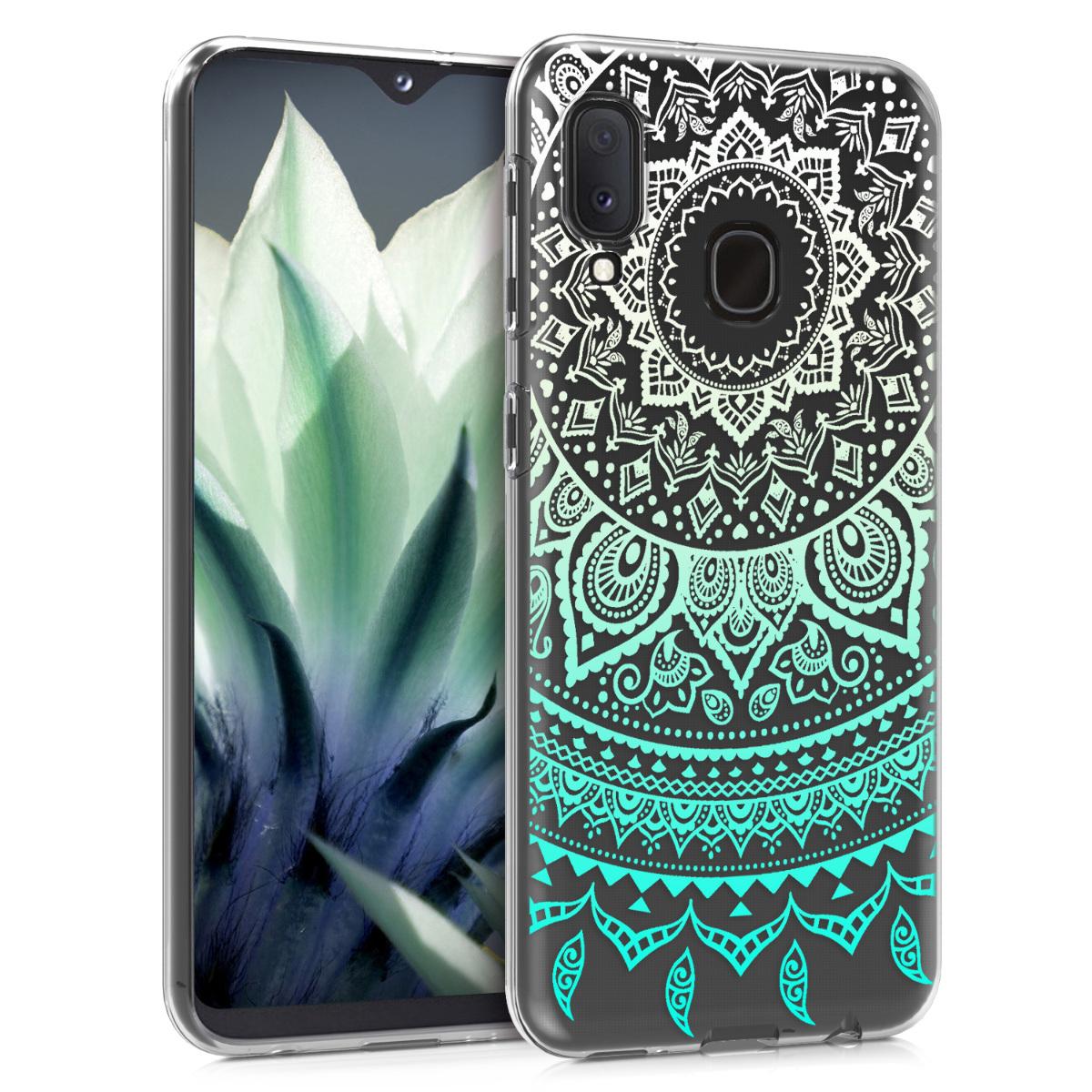Kvalitní silikonové TPU pouzdro pro Samsung A20e - indické slunce mint zelené / bílé / transparentní