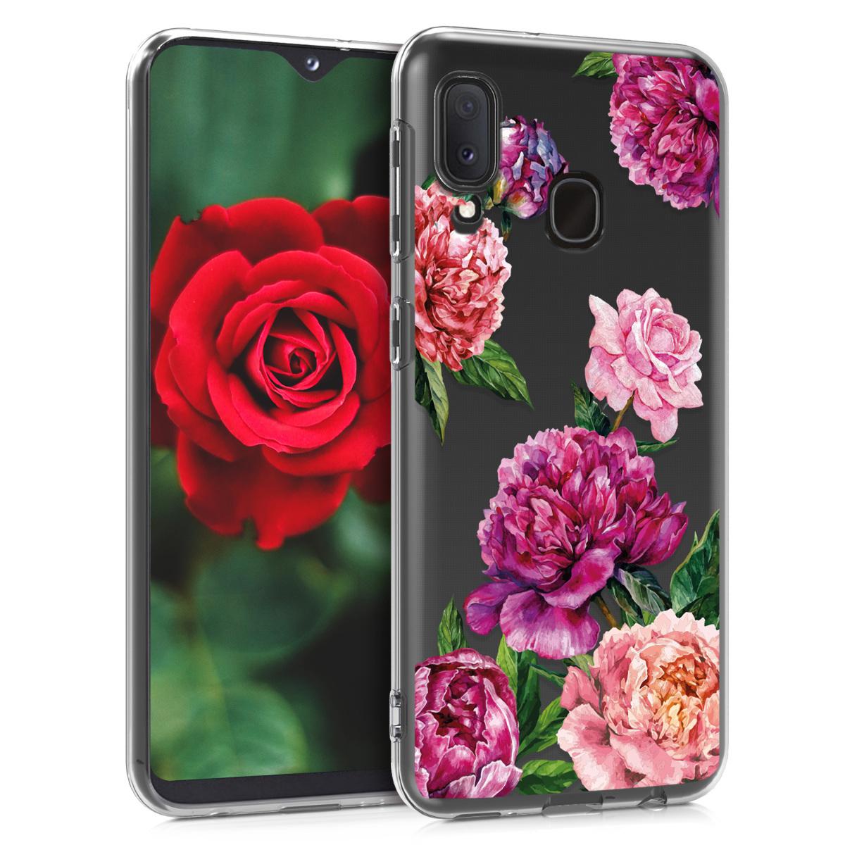 Kvalitní silikonové TPU pouzdro pro Samsung A20e - květiny Mix fialové / růžové / transparentní