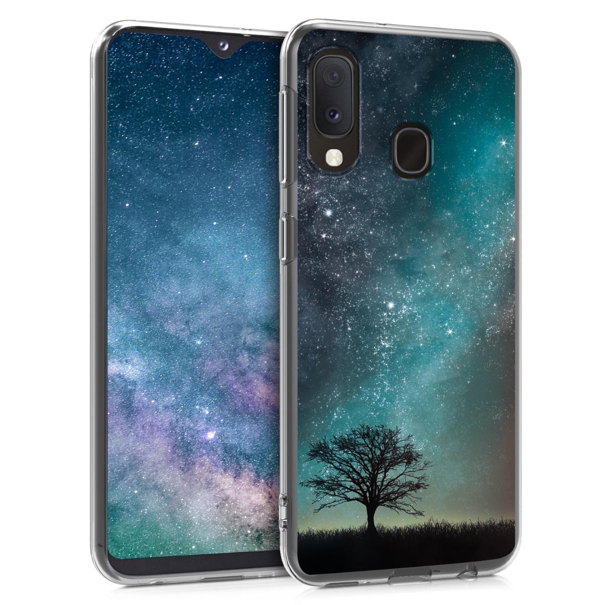 Kvalitní silikonové TPU pouzdro pro Samsung A20e - kosmické přírodní modré / šedé / černé