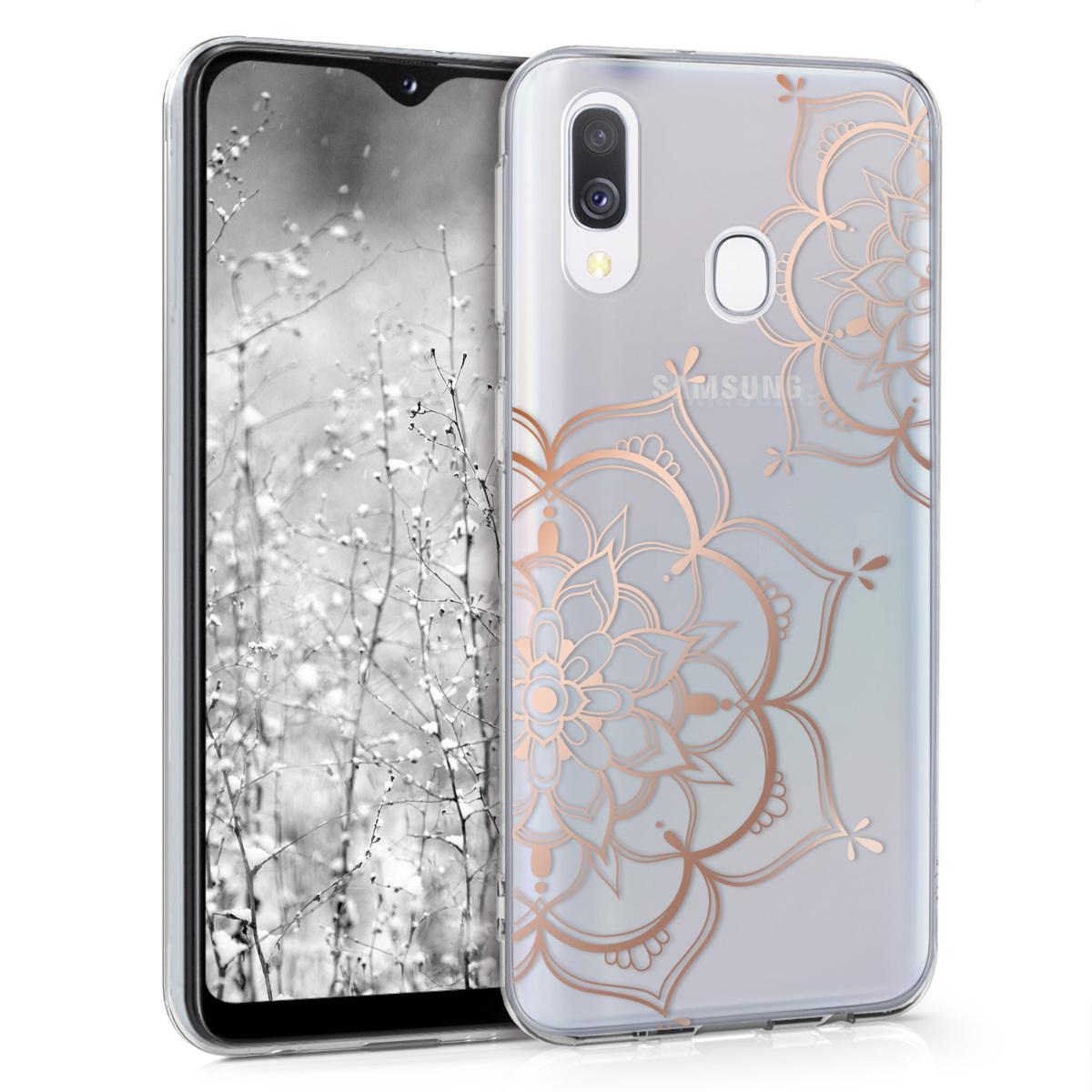 Kvalitní silikonové TPU pouzdro pro Samsung A20e - květiny Twins starorůžové rosegold / transparentní