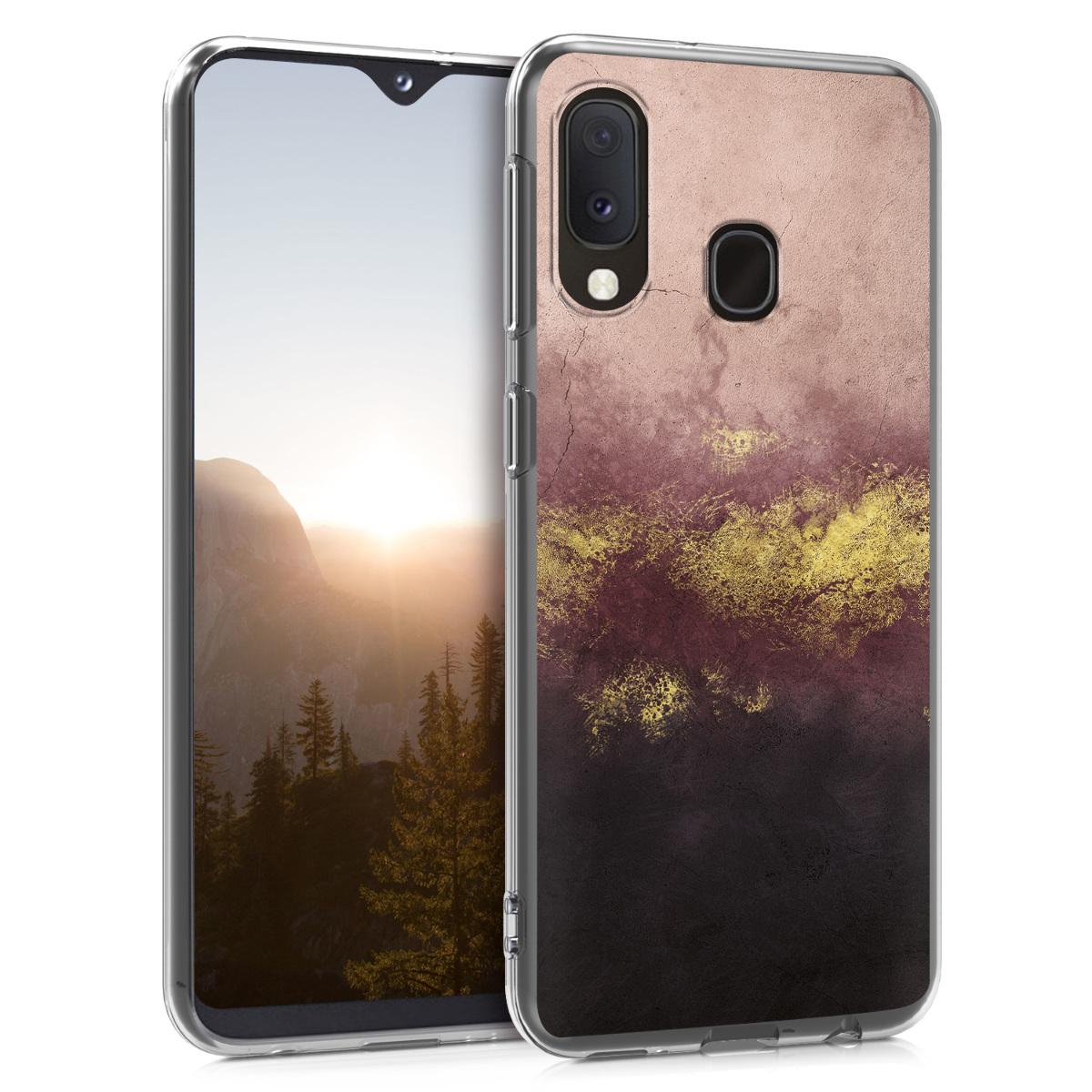 Kvalitní silikonové TPU pouzdro pro Samsung A20e - metalické Granite Gold / Dusty růžové / černé