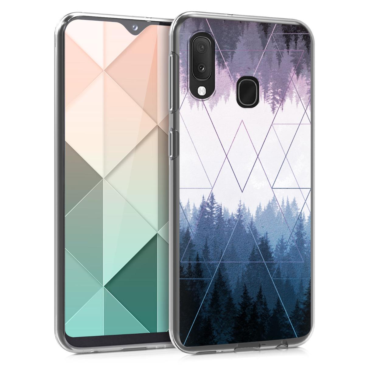 Kvalitní silikonové TPU pouzdro pro Samsung A20e - Geometrické Forest modré / tmavě modré / fialová