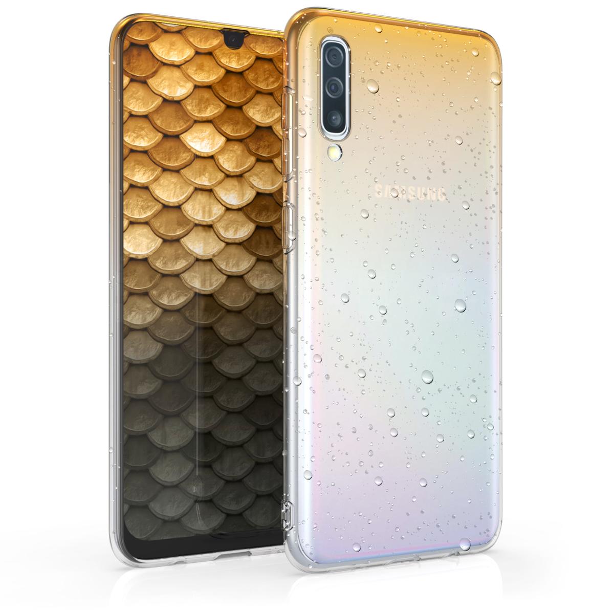 Kvalitní silikonové TPU pouzdro pro Samsung A50 - Raindrops žluté / transparentní