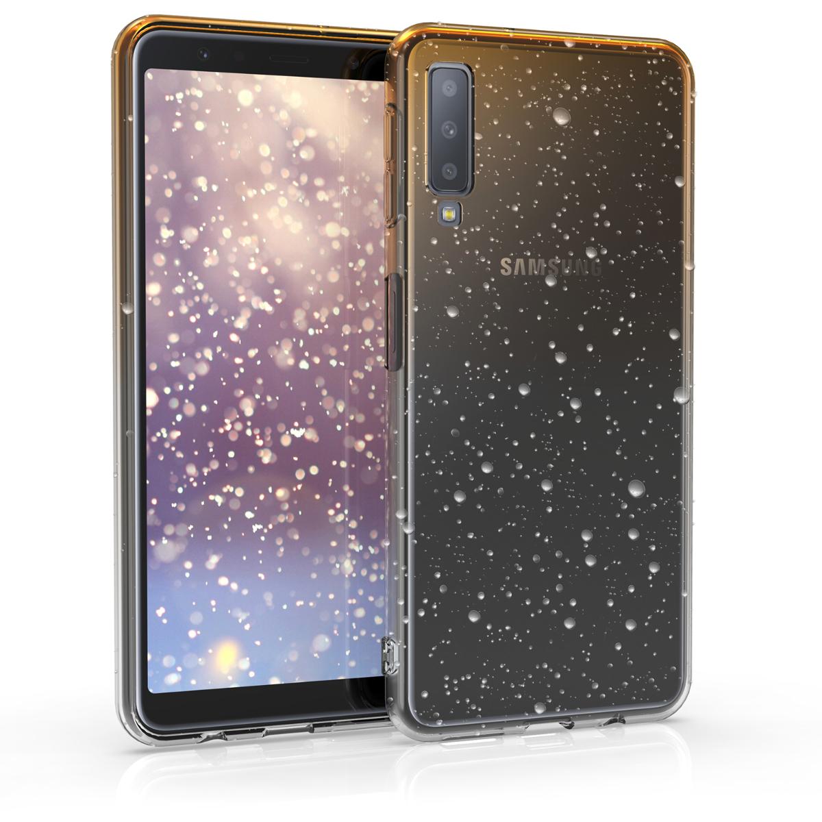 Kvalitní silikonové TPU pouzdro pro Samsung A7 (2018) - Raindrops žluté / transparentní