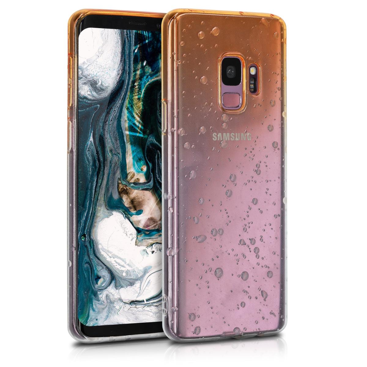 Kvalitní silikonové TPU pouzdro pro Samsung S9 - Raindrops žluté / transparentní