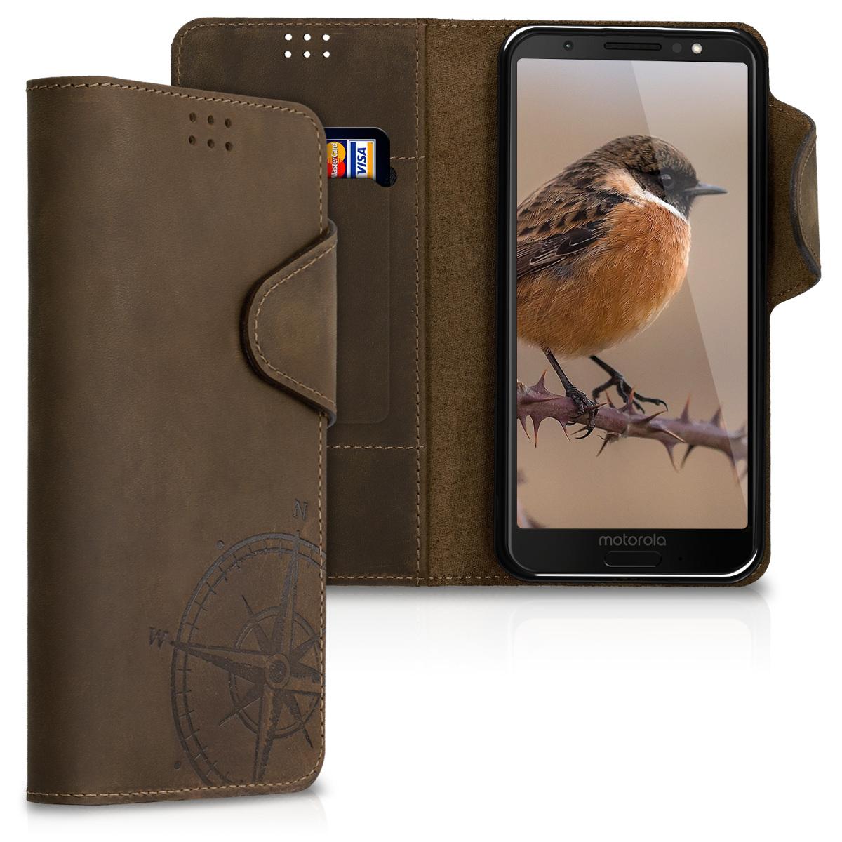 Kožené pouzdro | obal pro Motorola Moto G6 - Navigační kompas hnědý