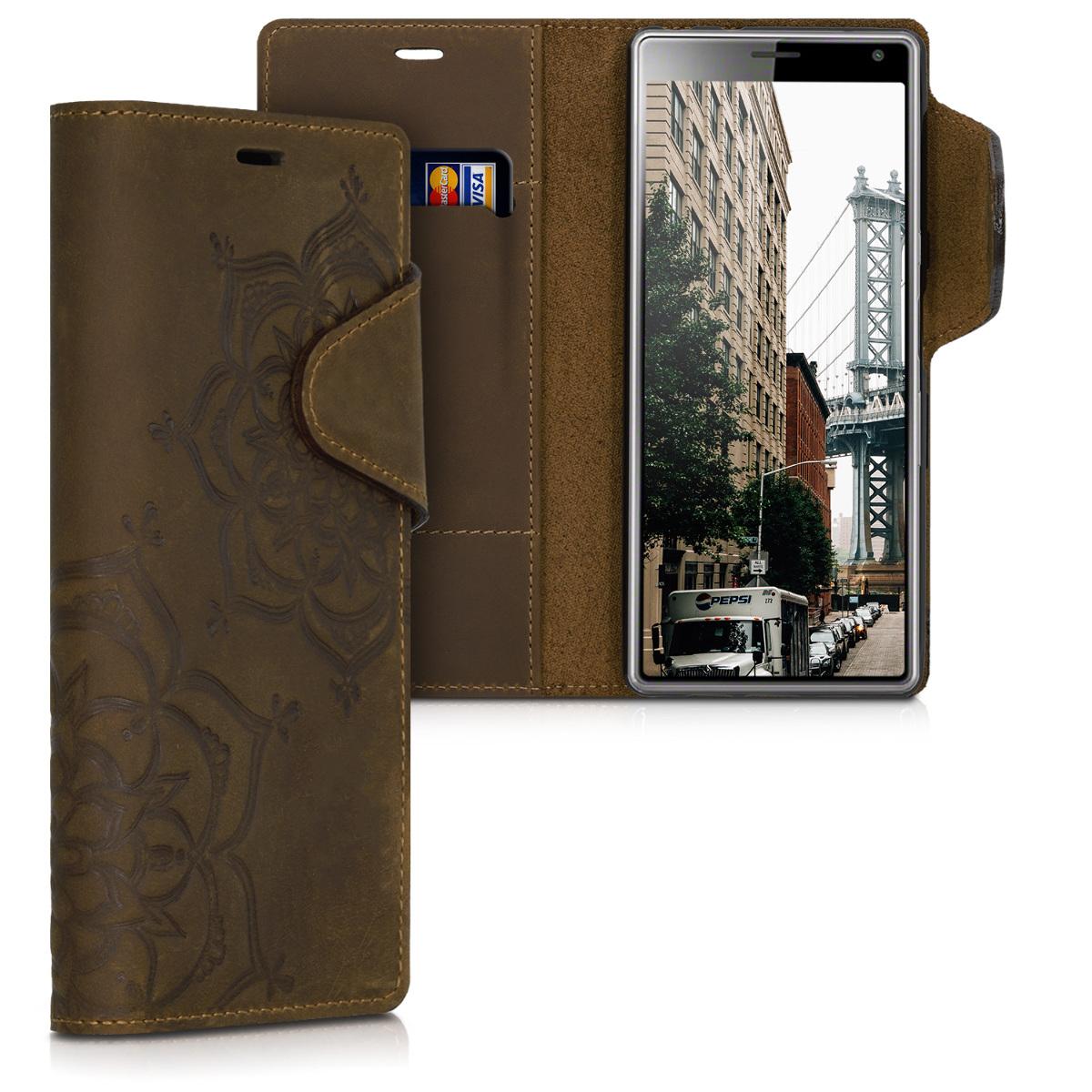 Kožené pouzdro | obal pro Sony Xperia 10 - květina Twins hnědé