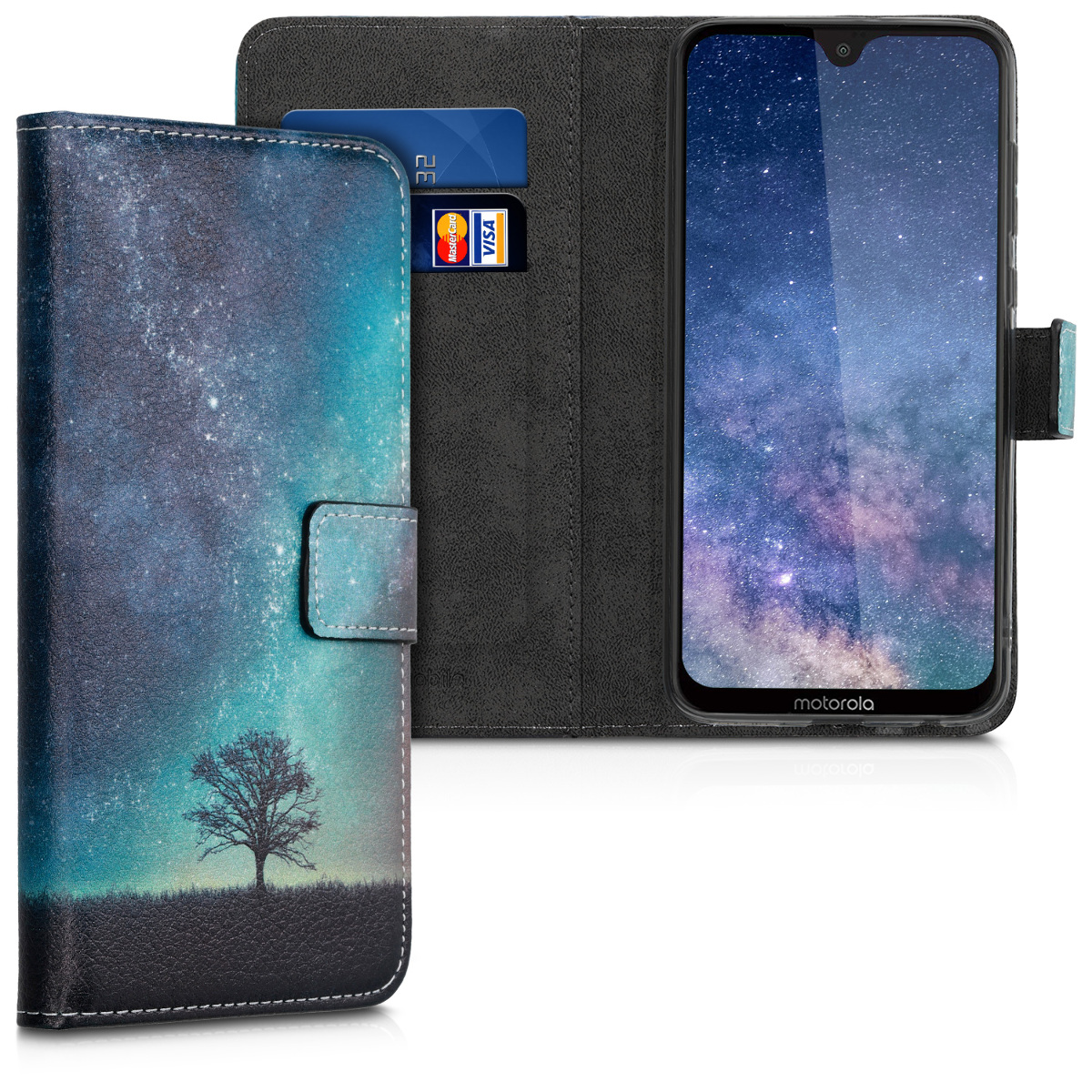 Kožené pouzdro | obal pro Motorola Moto G7 / Moto G7 Plus - Cosmic Nature Modrá / Šedá / Černá
