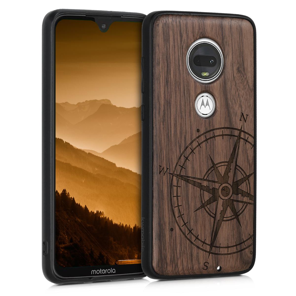 Dřevěné pouzdro | obal pro Motorola Moto G7 / Moto G7 Plus - Navigační kompas Tmavě hnědá