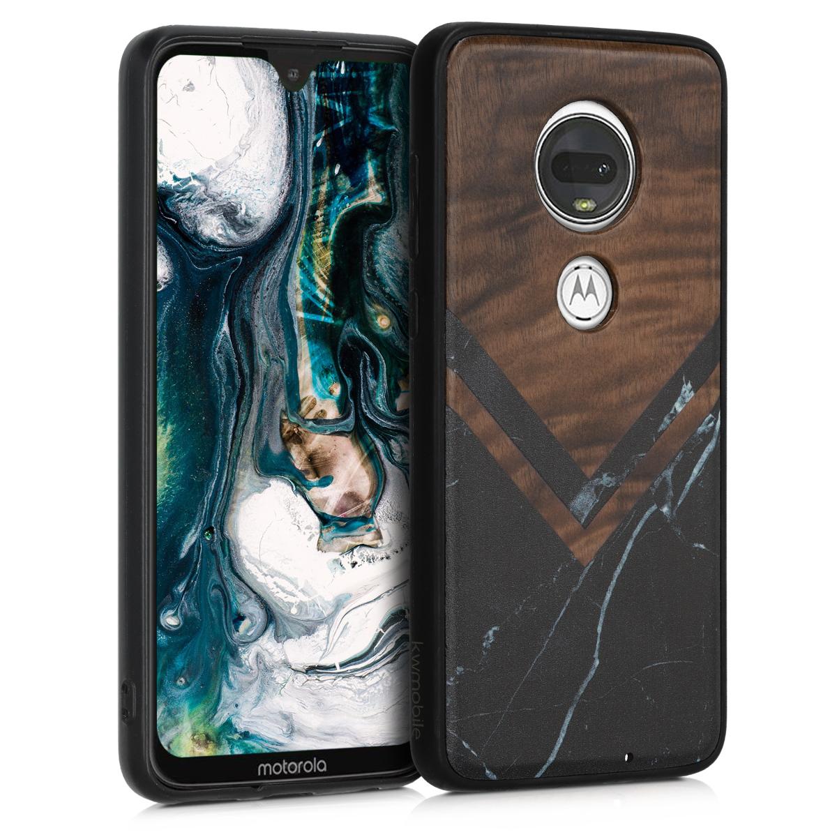 Dřevěné pouzdro | obal pro Motorola Moto G7 / Moto G7 Plus - Dřevo a mramor Černá / Bílá / Tmavě hnědá