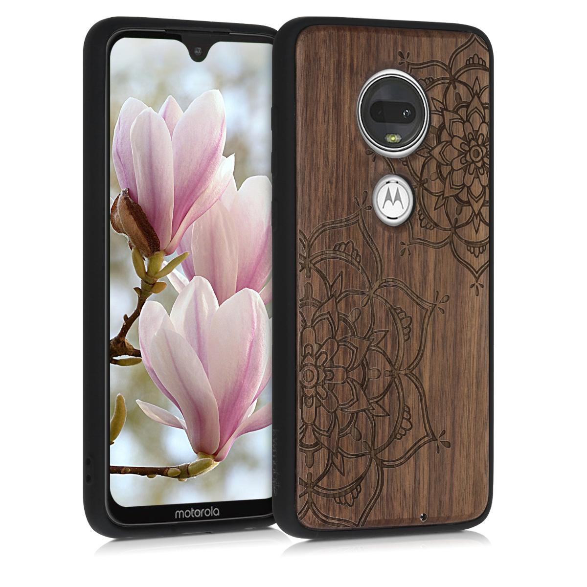 Dřevěné pouzdro | obal pro Motorola Moto G7 / Moto G7 Plus - Květinová dvojčata tmavě hnědá