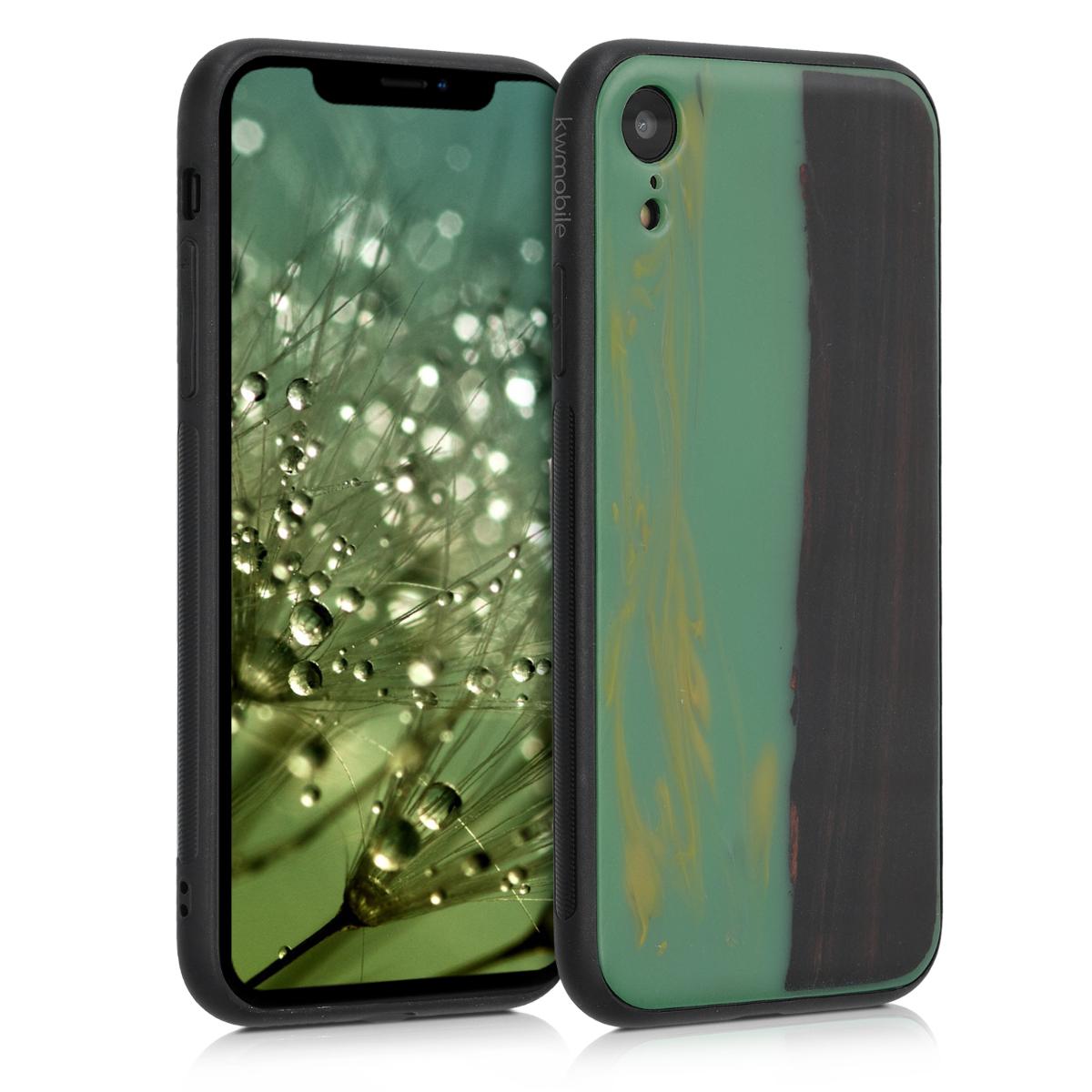 Dřevěné pouzdro pro Apple iPhone XR - Dřeva a pryskyřice Mint | Orange | Dark Brown