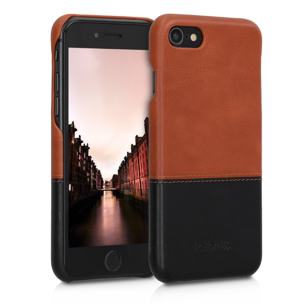 Kožené pouzdro pro Apple iPhone 7 / 8 / SE  - Brown | Black