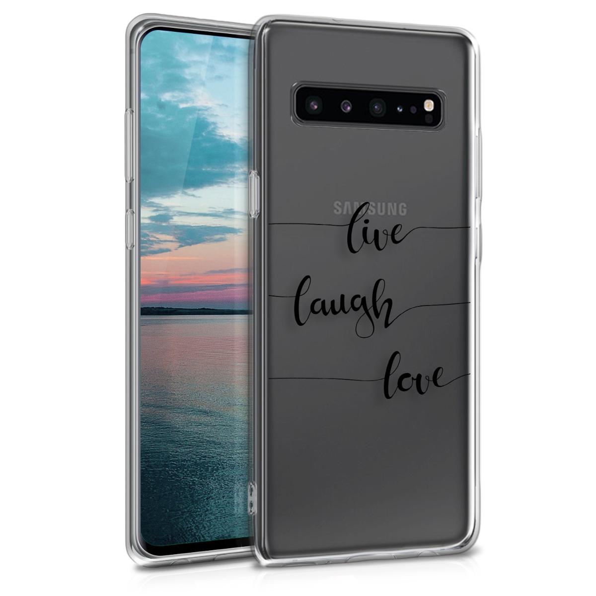 Kvalitní silikonové TPU pouzdro pro Samsung S10 5G - Žít, smích, láska černé / transparentní