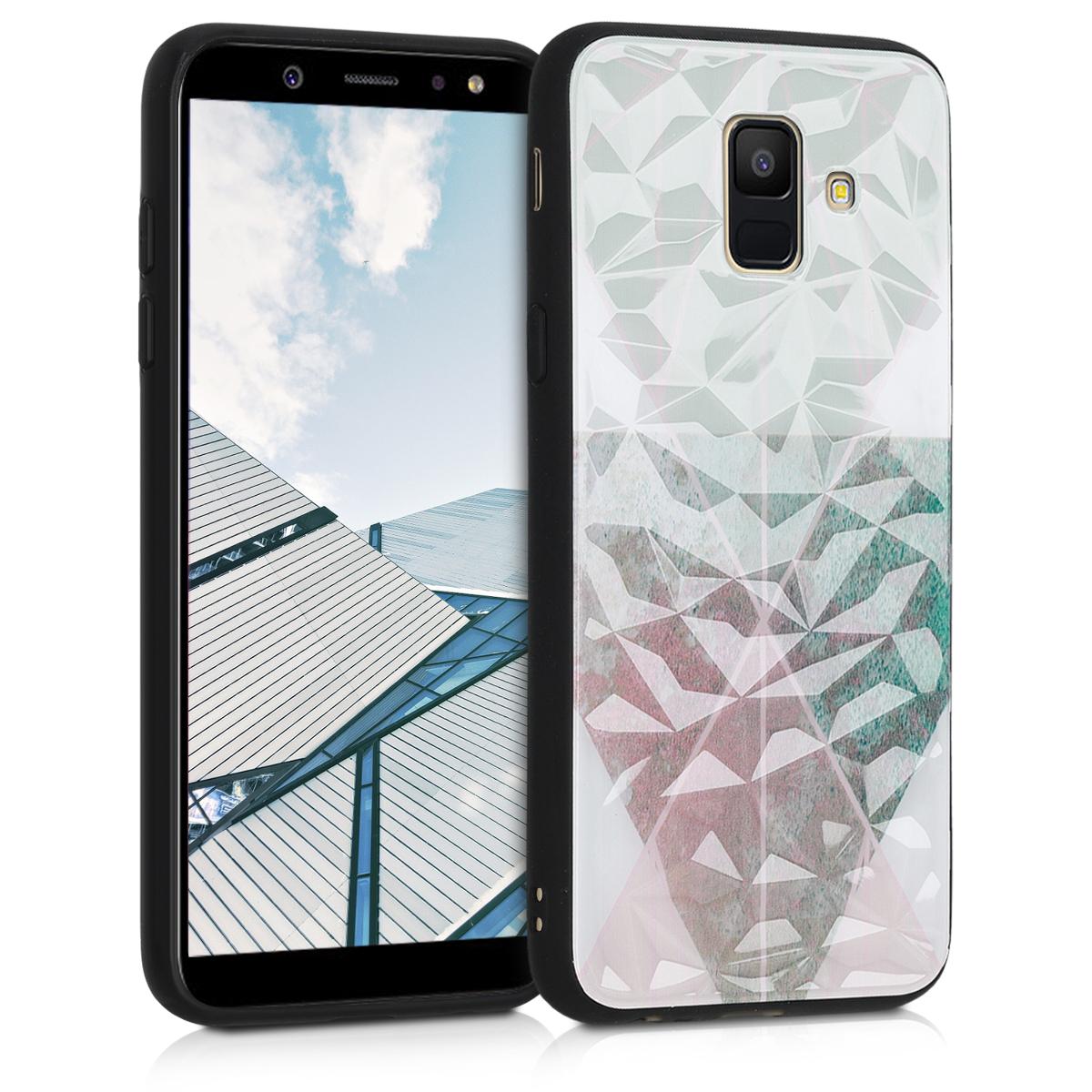 Kvalitní plastové pouzdro pro Samsung A6 (2018) - 3D Triangle Mozaika Beige / starorůžové rosegold / bílé