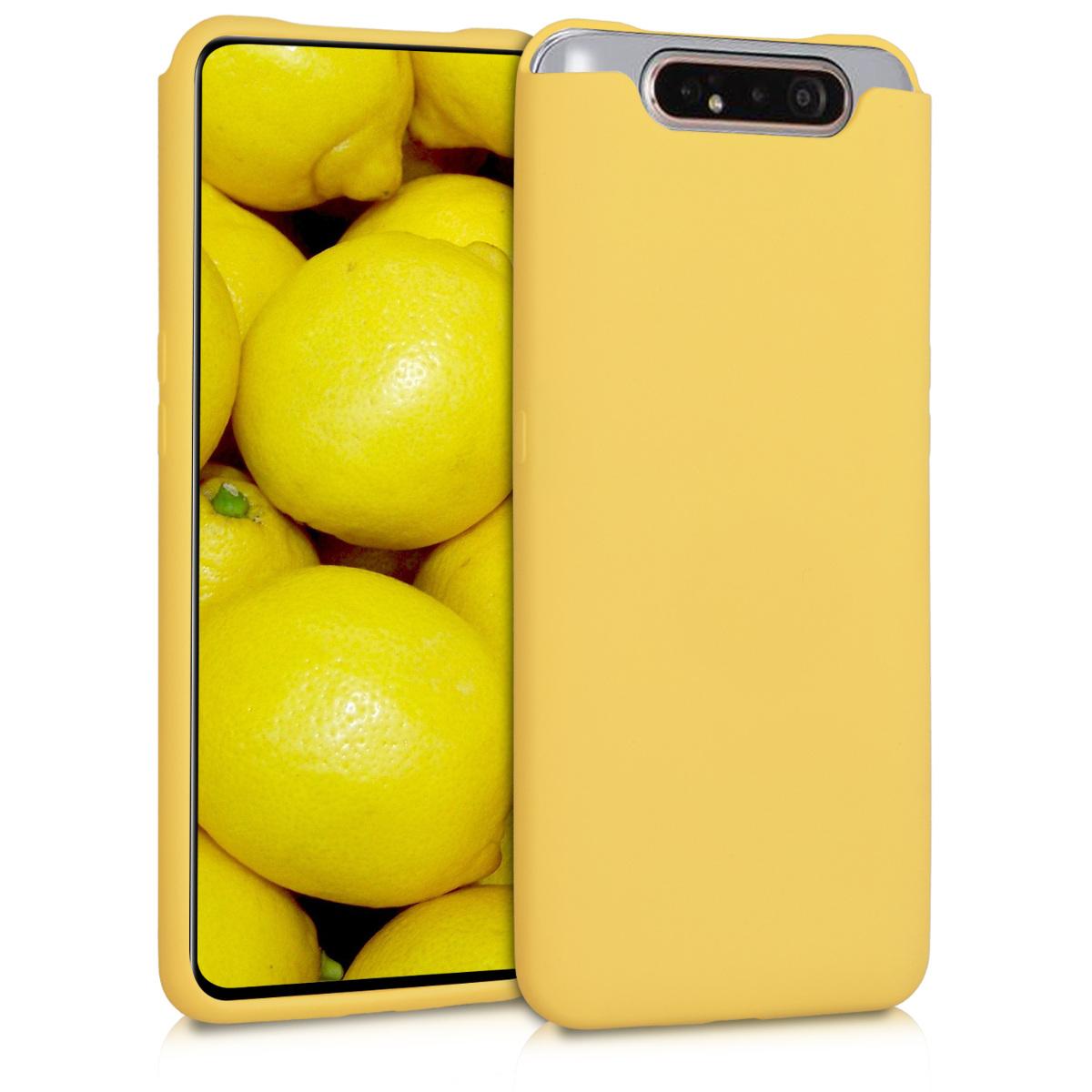 Kvalitní silikonové TPU pouzdro pro Samsung A80 - pastelové žluté matné