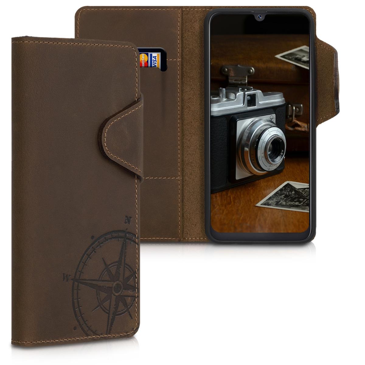 Kožené pouzdro pro Samsung A50 - Navigační Compass Brown