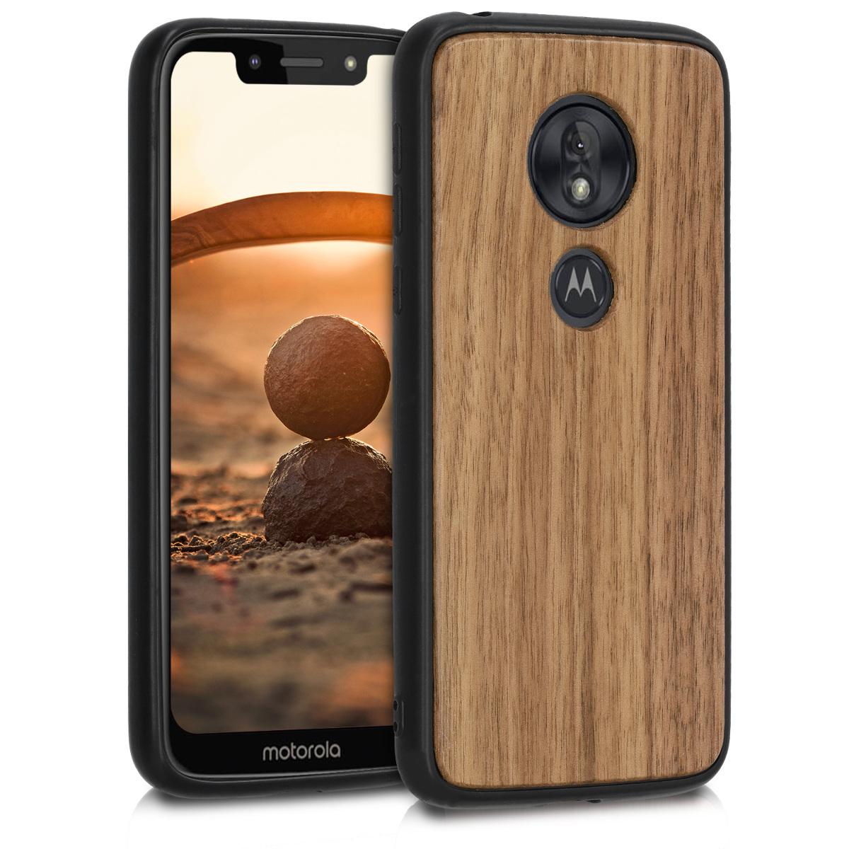 Dřevěné pouzdro   obal pro Motorola Moto G7 Play (EU-Version) - Tmavě hnědá