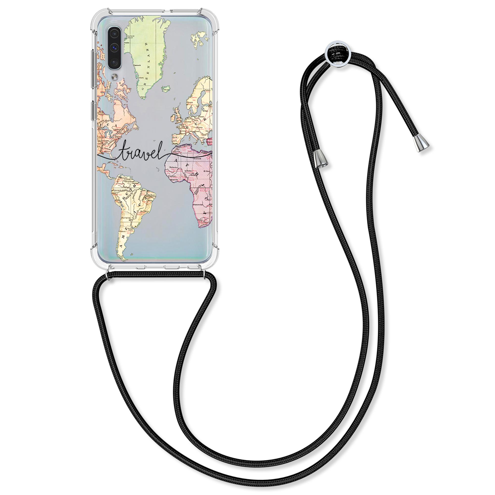 Kvalitní silikonové TPU pouzdro pro Samsung A50 - Travel Black / Multicolor / Transparent