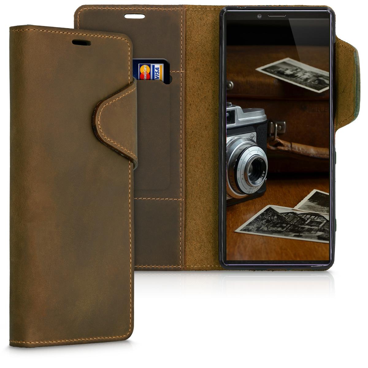 Kožené pouzdro | obal pro Sony Xperia 1 - hnědé