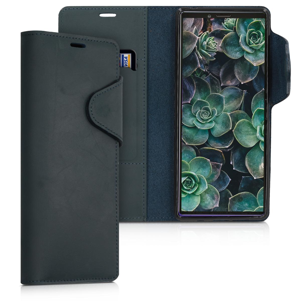Kožené pouzdro | obal pro Sony Xperia 1 - tmavě modré
