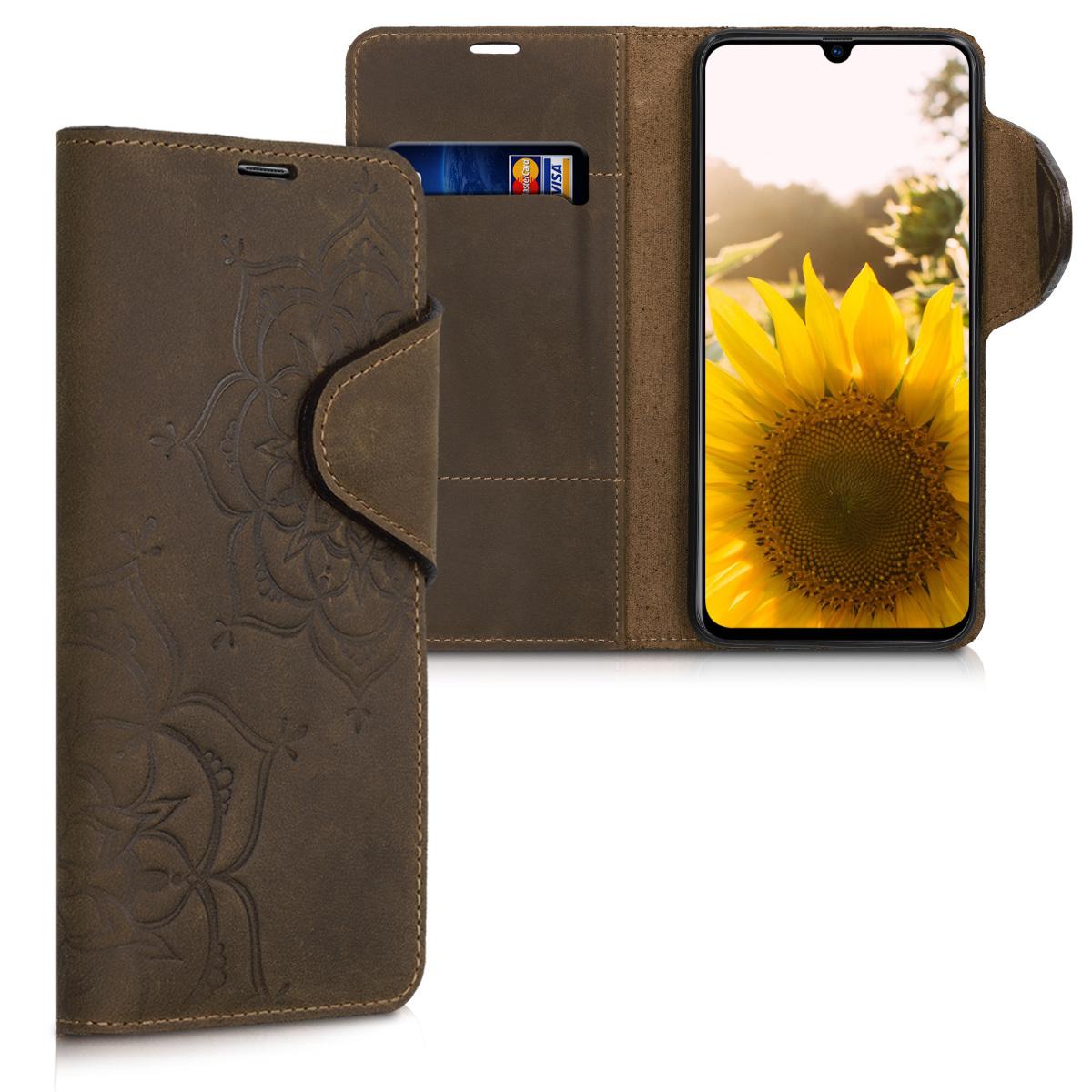 Kožené pouzdro pro Samsung A70 - květiny Twins Brown