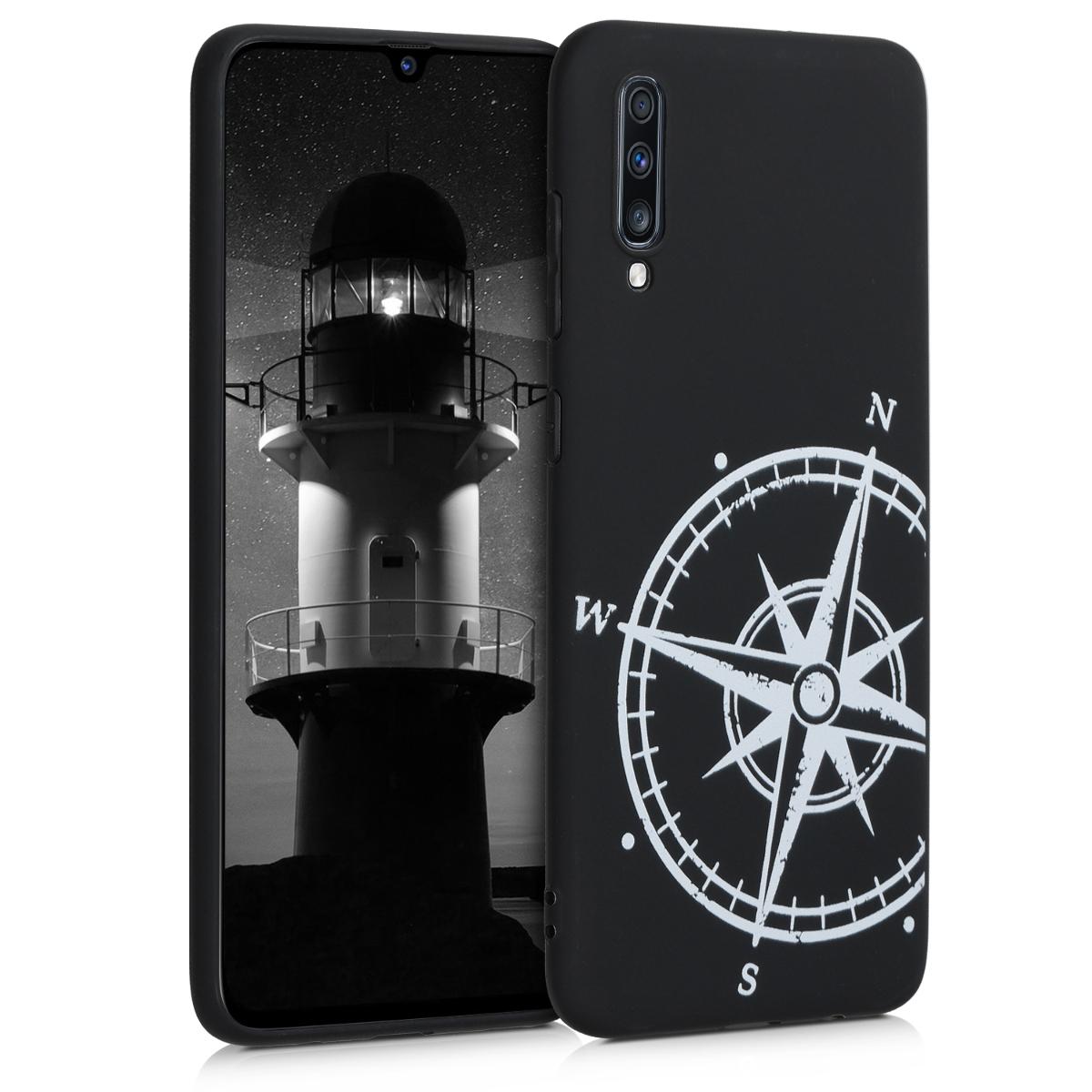 Kvalitní silikonové TPU pouzdro pro Samsung A70 - Navigační Compass bílé / černé