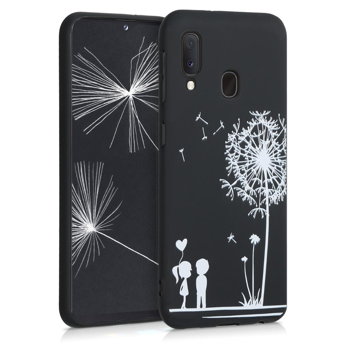 Kvalitní silikonové TPU pouzdro pro Samsung A20e - Pampeliška Láska bílá / černé