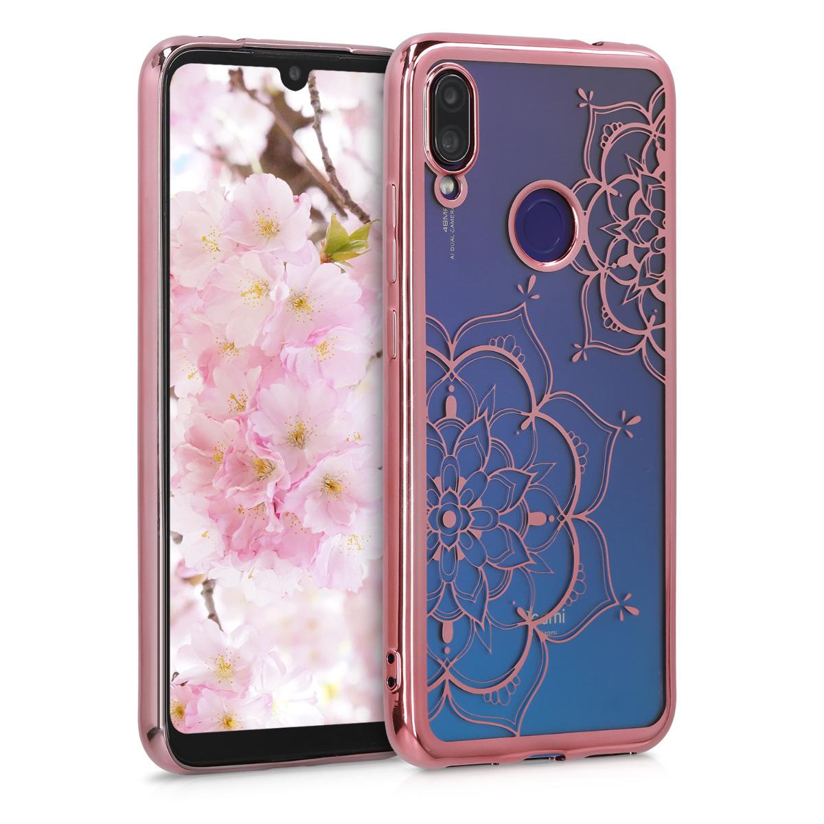 Kvalitní silikonové TPU pouzdro | obal pro Xiaomi Redmi Note 7 | Note 7 Pro - květina Twins starorůžový růžovýgold / starorůžový růžovýgold / transparentní