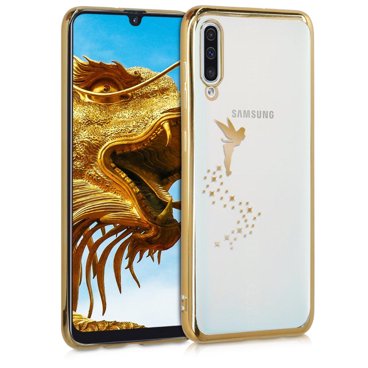 Kvalitní silikonové TPU pouzdro pro Samsung A50 - Víla Gold / transparentní