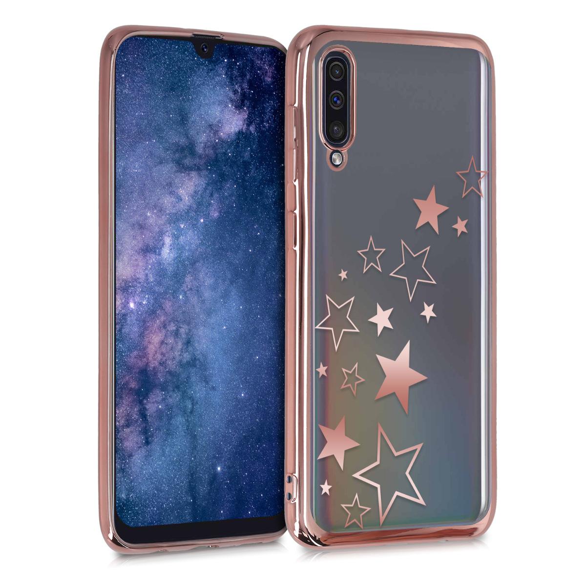 Kvalitní silikonové TPU pouzdro pro Samsung A50 - Hvězda Mix starorůžové rosegold / starorůžové rosegold / transparentní